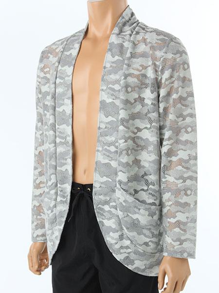 メッシュ素材迷彩柄メンズジャケット(カモフラ166112)