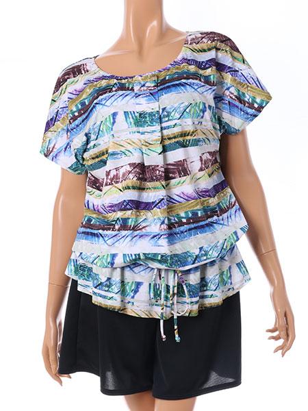 かすれボタニカル柄Tシャツ・ショートパンツ付き4点セット水着(テッサラ167000)