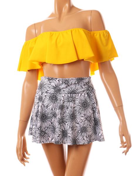 別売り同柄のスカートとコーディネート
