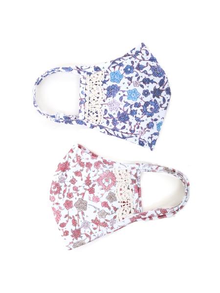 小花柄レースディテールパイピングマスク【水着素材のUVカットマスク】(202023)