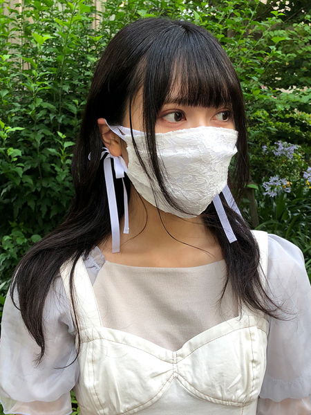 花レースマスク×UVカットマスクホワイト重ねづけ