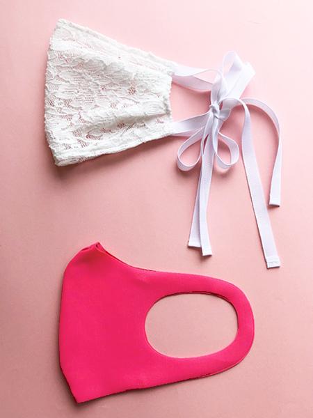 リボン・花レースマスク×UVカットマスク【濃いピンク】セット