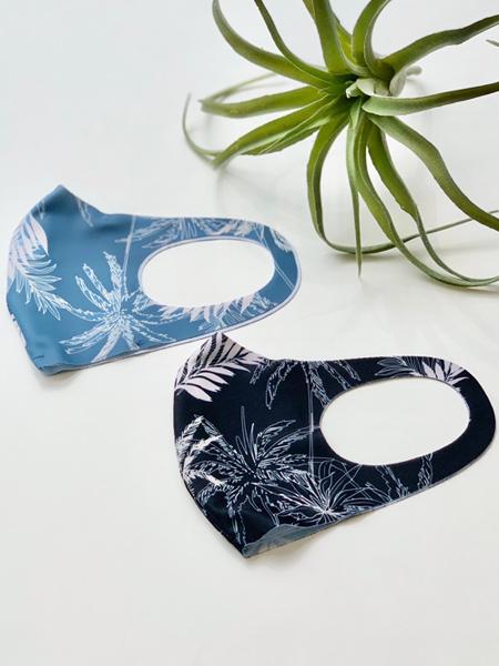〈パームツリー柄〉洗える水着素材のUVカットマスク(202041)