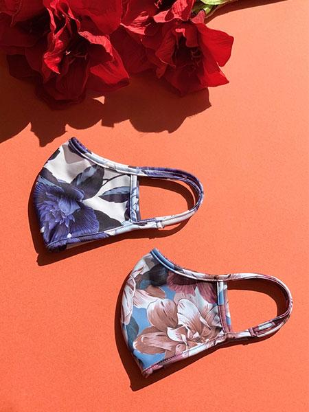 大人の花柄パイピングマスク【洗える水着素材のUVカットマスク】(202045)