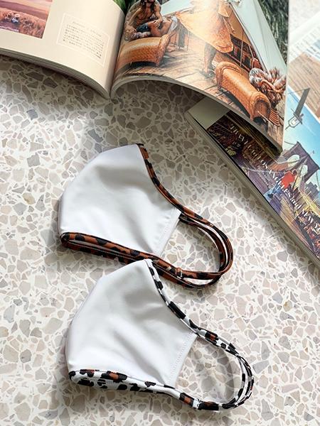 白無地×アニマル柄パイピングマスク【洗える水着素材のUVカットマスク】(202042)