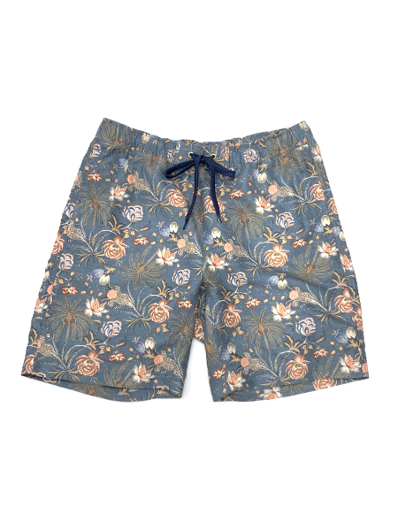 【XLサイズ】サラサ柄ミディアム丈メンズサーフパンツ(206325)