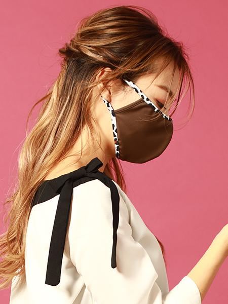 カラーベース×ヒョウ柄パイピングマスク(212009)