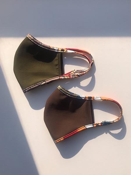 カラーベース×トロピカル柄パイピングマスク【洗える水着素材のUVカットマスク】(212028)