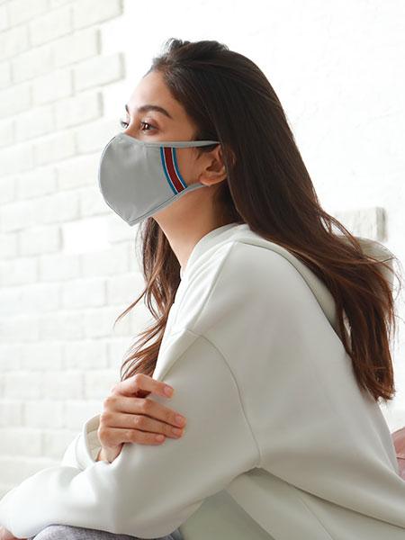 ライン入りパイピングマスク【抗菌裏地】【洗える水着素材のUVカットマスク】(212051)