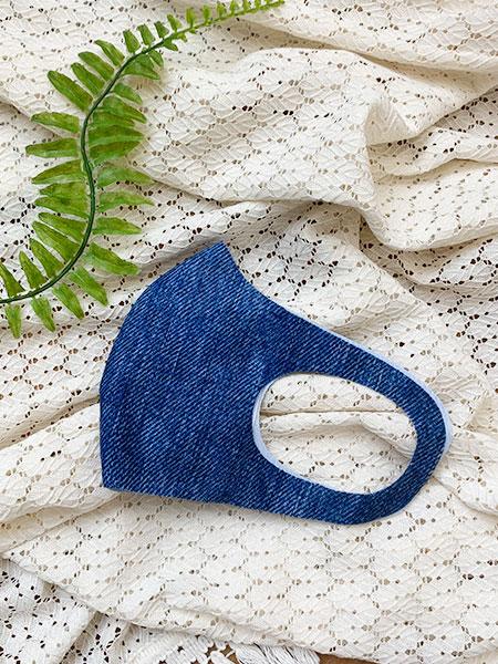 〈デニム柄〉洗える水着素材のUVカットマスク【抗菌裏地】(212057)